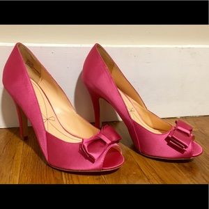 Hot pink satin open toe pumps